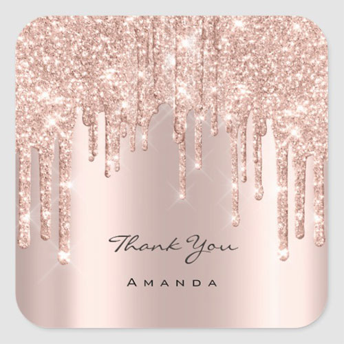 Thank You Name Glitter Spark Classic Round Sticker