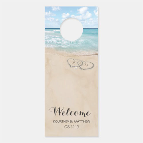 Tropical Vintage Beach Heart Shore Wedding Welcome Door Hanger