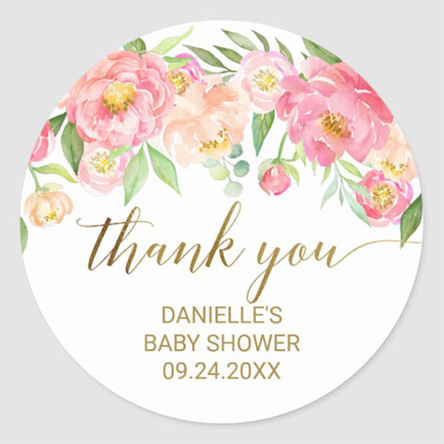 Peach and Pink Peony Flowers Thank You Favor Classic Round Sticker